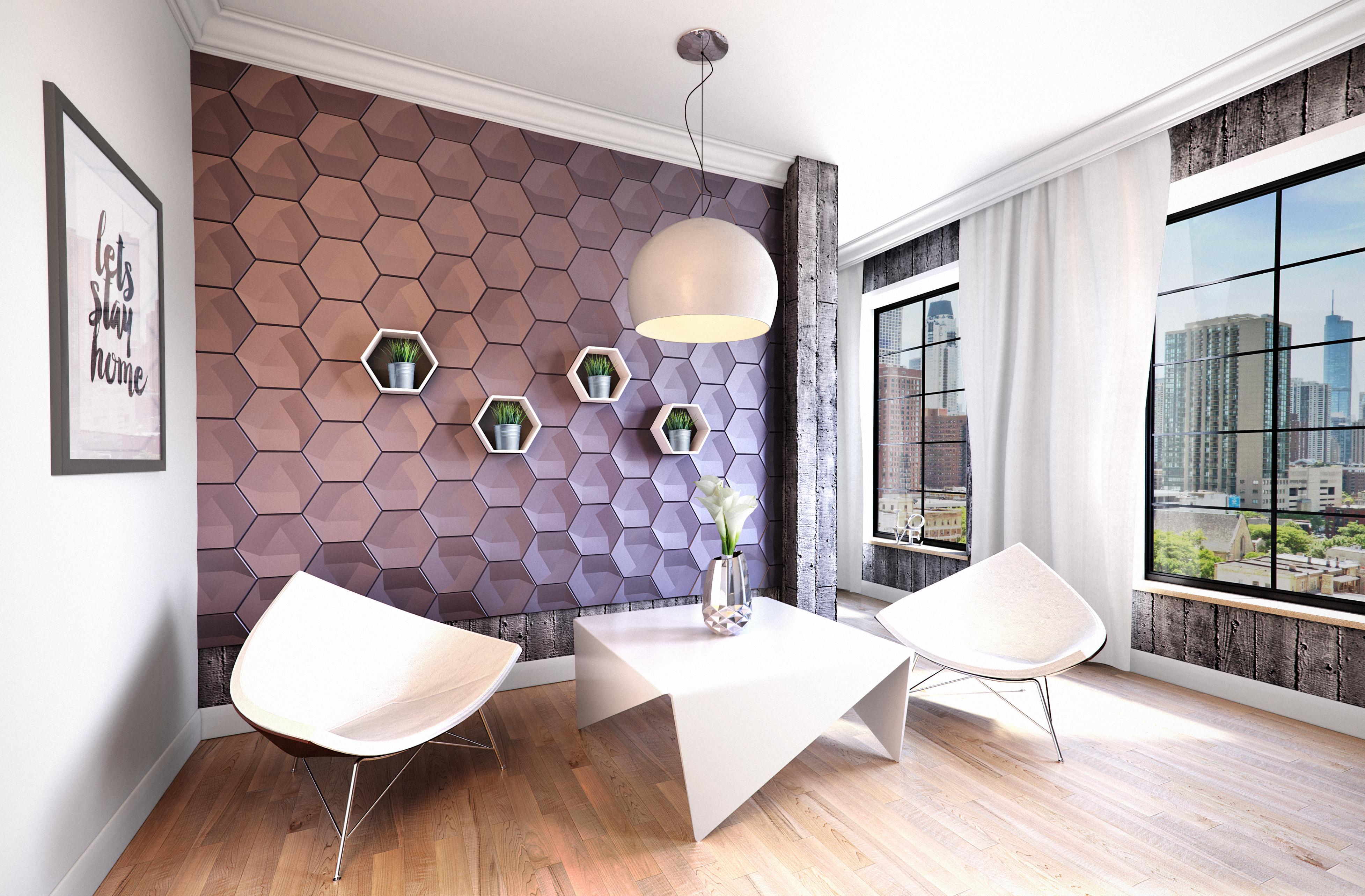 Modern, dekoratív poliuretán 3D falpanel.