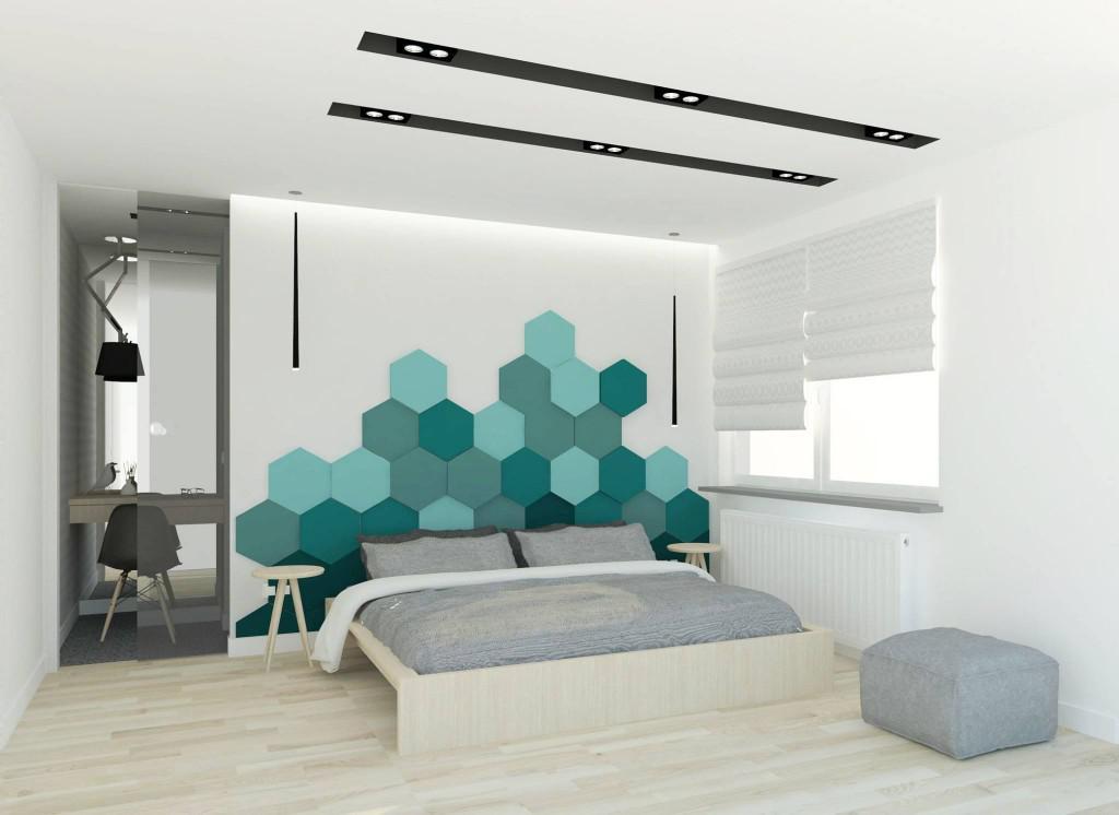 hexagon 3d falpanel, gipszfalpanel, hálószoba dekoráció