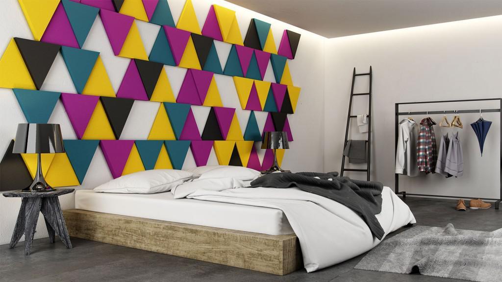 triangle 3d falpanel, gipszfalpanel, hálószoba dekoráció